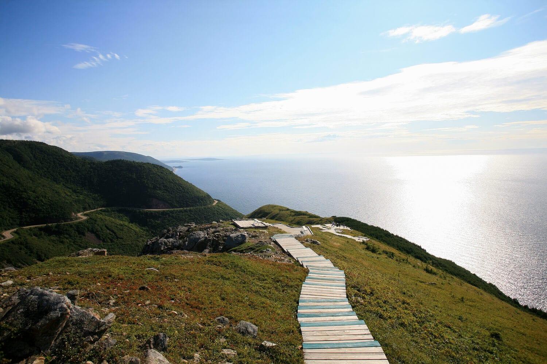 A beautiful vista of the Atlantic Ocean as seen from Cape Breton Island.